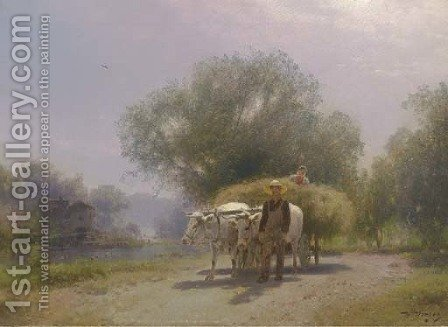 Harvest Scene in Flatbrookville by Herman Herzog - Reproduction Oil Painting