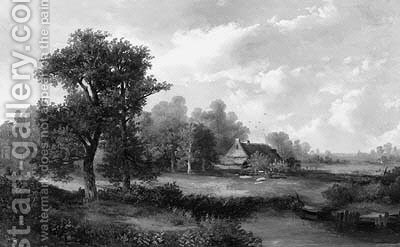 A cottage in a summer landscape by Hermanus Jan Hendrik Rijkelijkhuysen - Reproduction Oil Painting