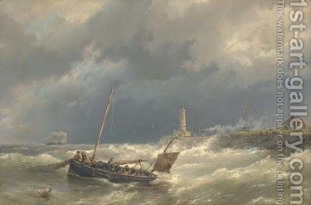 Gathering in the nets in stormy seas by Hermanus Koekkoek - Reproduction Oil Painting