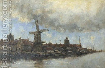 A view of a Dutch town along a river by Hermanus Koekkoek - Reproduction Oil Painting