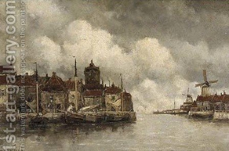 Moored vessels along a quay in a Dutch town by Hermanus Koekkoek - Reproduction Oil Painting