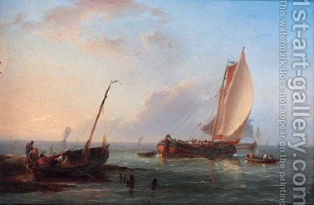 Sailing boats off the Dutch coast by Hermanus Koekkoek - Reproduction Oil Painting