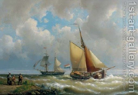 Sailing along a coast, a two-master in the distance by Hermanus Koekkoek - Reproduction Oil Painting