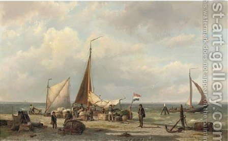 Unloading the freight by Hermanus Koekkoek - Reproduction Oil Painting