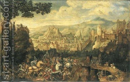 A landscape with the conversion of Saint Paul on the road to Damascus by Herri met de Bles - Reproduction Oil Painting