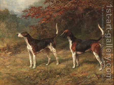 Chorister and Norman, one couple of fox hounds beside a covert by Heywood Hardy - Reproduction Oil Painting