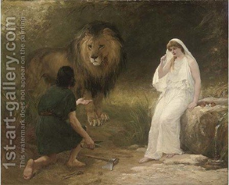 Una and the Lion by Heywood Hardy - Reproduction Oil Painting