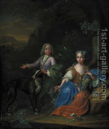 Double portrait of a boy and a girl, small full-length, with a greyhound in a wooded landscape by Heroman Van Der Mijn - Reproduction Oil Painting