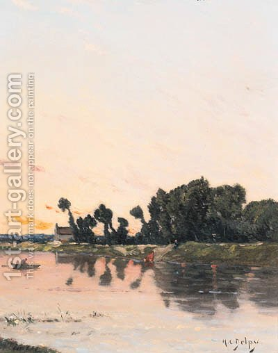 A lake landscape at sunset by Hippolyte Camille Delpy - Reproduction Oil Painting