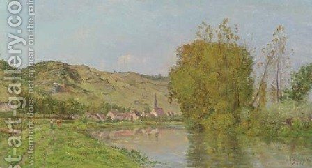 A Mountainous River Landscape by Hippolyte Camille Delpy - Reproduction Oil Painting