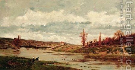 Bord de l'Oise by Hippolyte Camille Delpy - Reproduction Oil Painting