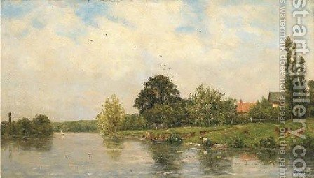 Washing on the Banks of the River by Hippolyte Camille Delpy - Reproduction Oil Painting