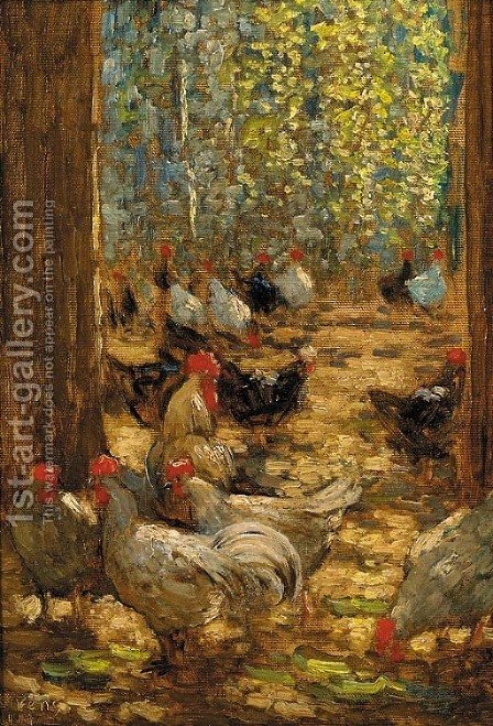 Chickens in the yard by Horace Mann Livens - Reproduction Oil Painting