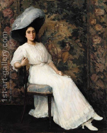 An elegant lady with a white plummed hat by Horace Richebe - Reproduction Oil Painting