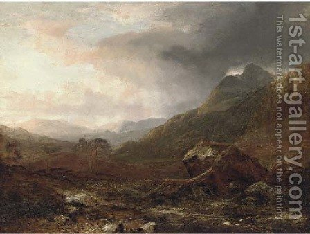 A storm gathering in the highlands by Horatio McCulloch - Reproduction Oil Painting