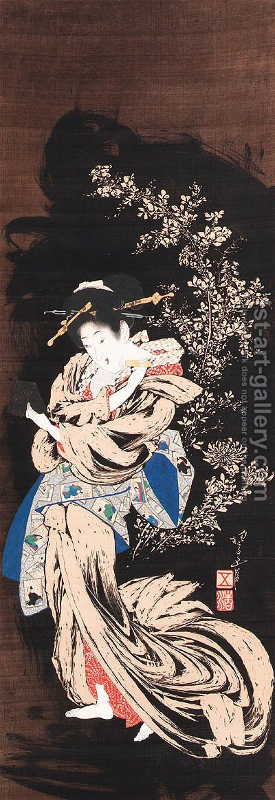 Beauty powdering her face by Hotei Gosei - Reproduction Oil Painting