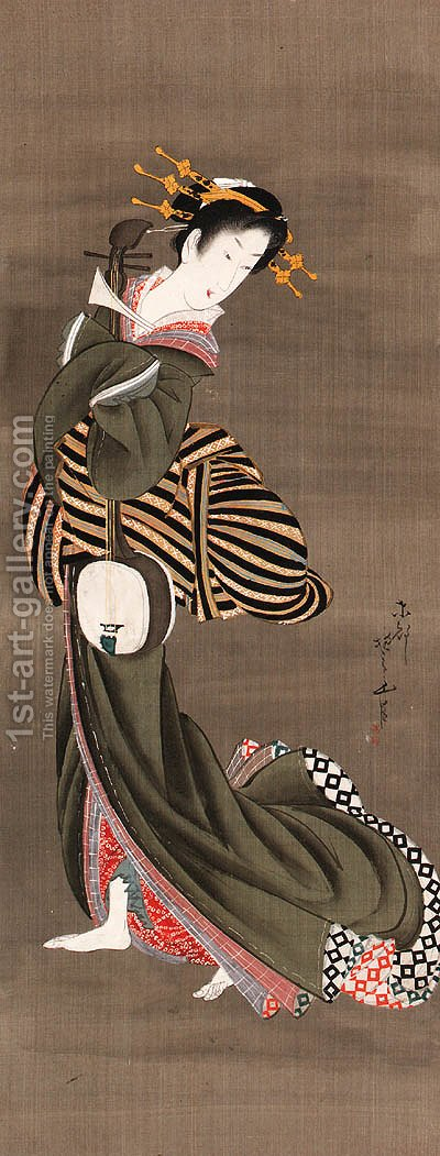 Geisha with shamisen by Hotei Gosei - Reproduction Oil Painting