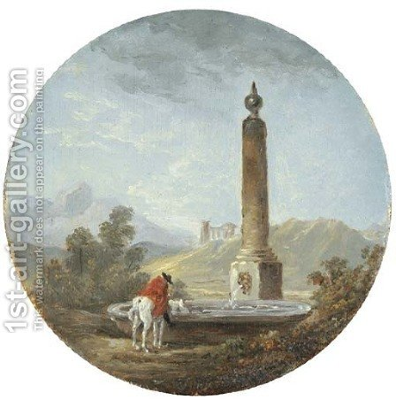 A landscape with a horseman pausing by a fountain by Hubert Robert - Reproduction Oil Painting