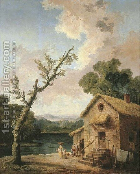 Maison pres du lac by Hubert Robert - Reproduction Oil Painting