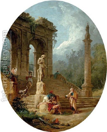 A capriccio of a classical arcade and a column with figures conversing before a statue by Hubert Robert - Reproduction Oil Painting