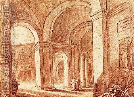The Courtyard of the Palazzo Farnese at Caprarola by Hubert Robert - Reproduction Oil Painting