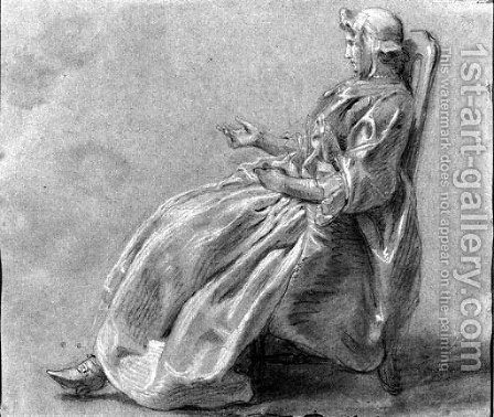 A seated woman in profile to the left by Hubert-Francois Gravelot - Reproduction Oil Painting