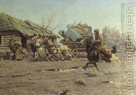 Kosaks on the run by Hugo Ungewitter - Reproduction Oil Painting