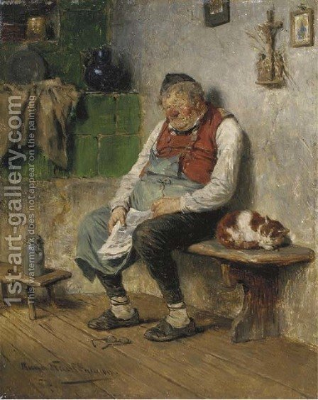 Eingeschlafener Wirt dozing off by Hugo Kauffmann - Reproduction Oil Painting