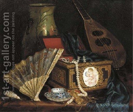 A Jewellery Box, A Fan, An Oriental Vase ,A Mandolin And A Cup And Saucer On A Table by Hungarian School - Reproduction Oil Painting