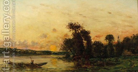 Pecheur au bord de la riviere by Hippolyte Camille Delpy - Reproduction Oil Painting