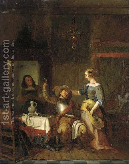 The drunken suitor by Ignatius Josephus van Regemorter - Reproduction Oil Painting