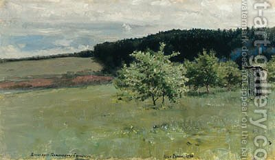 Apple Orchard in Spring by Ilya Efimovich Efimovich Repin - Reproduction Oil Painting