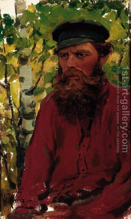 Portrait of a Russian Peasant by Ilya Efimovich Efimovich Repin - Reproduction Oil Painting