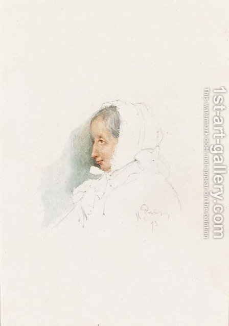 Portrait of an elderly Lady by Ilya Efimovich Efimovich Repin - Reproduction Oil Painting