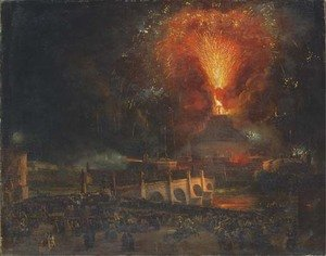 Famous paintings of Fireworks: Fireworks over Castel Sant'Angelo, Rome