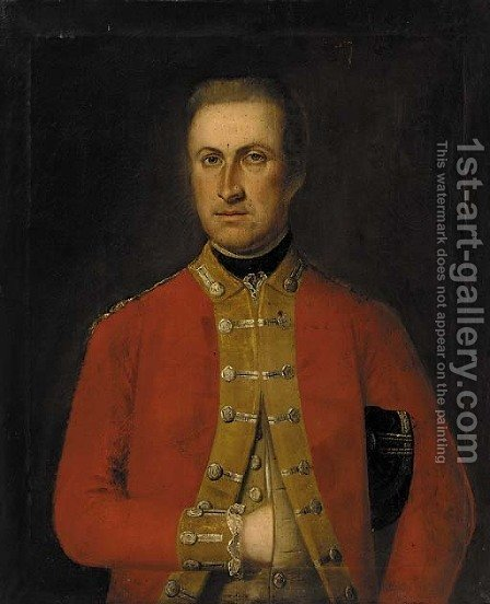 Portrait of an officer, bust-length, in dress uniform by Irish School - Reproduction Oil Painting
