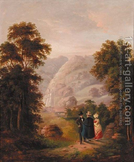 Figures before a waterfall in a mountainous landscape by Irish School - Reproduction Oil Painting
