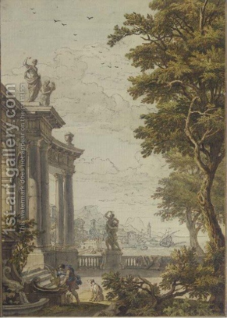 A classical gateway with a man and his dog at a fountain, a port and mountains beyond by Isaac de Moucheron - Reproduction Oil Painting