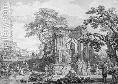 A classical landscape with a sacrifice offered to Pan in the ruins of a temple by Isaac de Moucheron - Reproduction Oil Painting