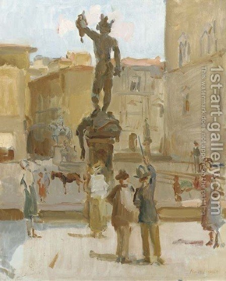 Ancient beauty visitors at The Piazza della Signoria, Florence by Isaac Israels - Reproduction Oil Painting