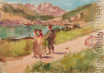 Going for a walk by a mountain lake near Bern, Switzerland by Isaac Israels - Reproduction Oil Painting