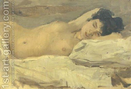 Slapend naakt a reclining nude by Isaac Israels - Reproduction Oil Painting