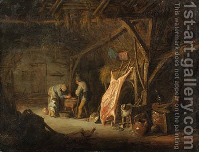 Peasants in a barn by Isaack Jansz. van Ostade - Reproduction Oil Painting