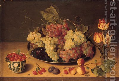 Bunches of grapes and vine leaves on a pewter platte by Isaak Soreau - Reproduction Oil Painting