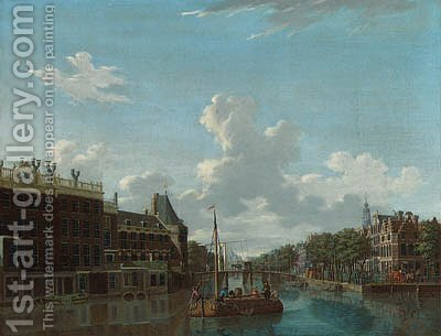 View of the Kloveniersburgwal in Amsterdam by Isaak Ouwater - Reproduction Oil Painting