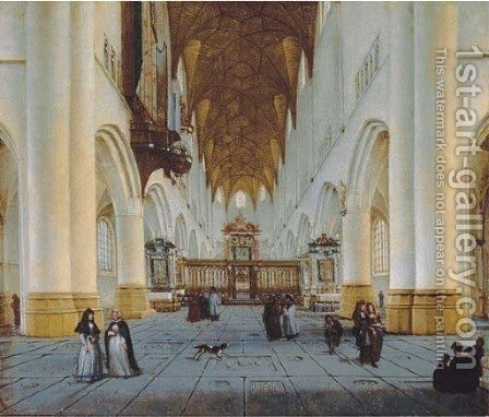 The interior of St. Bavo's, Haarlem by Isaak Nickelen - Reproduction Oil Painting
