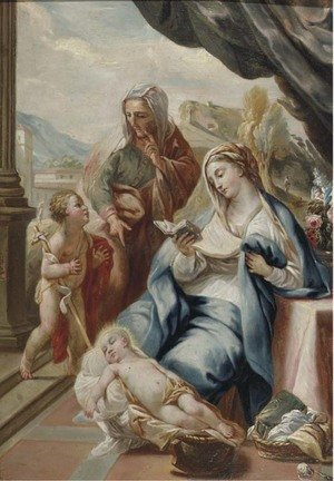 The Madonna and Child with the Infant Saint John the Baptist and Saint Anne on a terrace, a landscape beyond