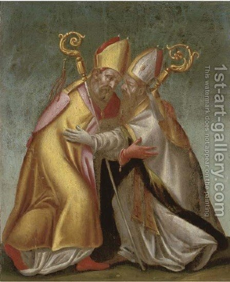 Two bishops greeting each other by Italian School - Reproduction Oil Painting