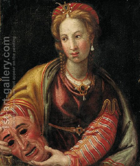 Portrait of a lady, half-length, holding a mask by Italian School - Reproduction Oil Painting