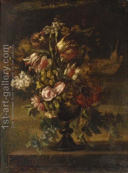 Roses, lilies, carnations and other flowers in a black vase by Italian School - Reproduction Oil Painting